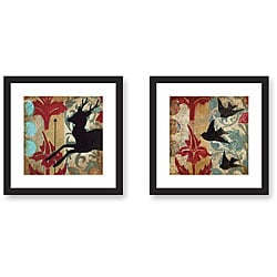 Judy Paul 'Deer and Birds' 2-piece Framed Art Set