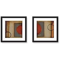 DeRosier 'Blue & Orange' Framed Art Print Set