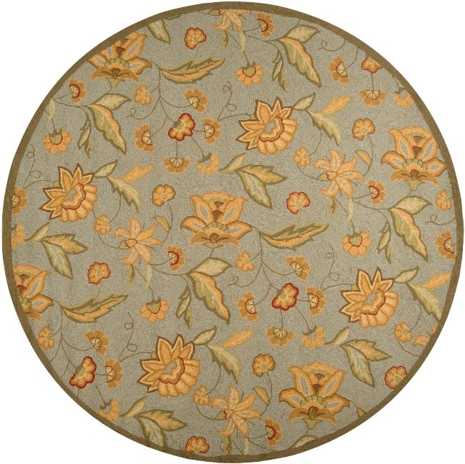 Surya Hand-hooked Tropic Collection Indoor/Outdoor Floral Rug (8' Round) at Sears.com