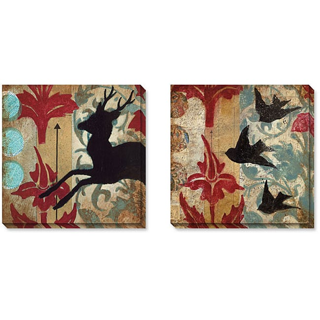 Judy Paul 'Deer & Birds' Gallery-wrapped Art Set