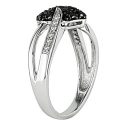 Miadora 10k Gold 1/3ct TDW Black and White Diamond Heart Ring (I-J, I2-I3)