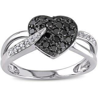 Miadora 10k Gold 1/3ct TDW Black and White Diamond Heart Ring (I-J, I2-I3)