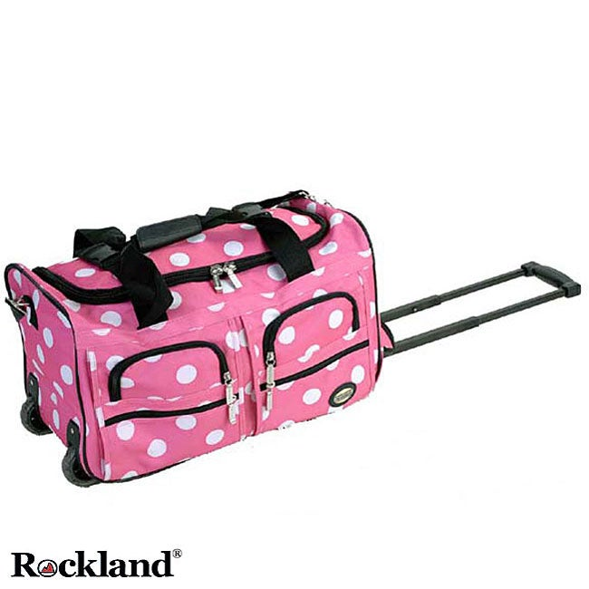 Rockland Pink Dot 22-inch Carry On Rolling Upright Duffel Bag