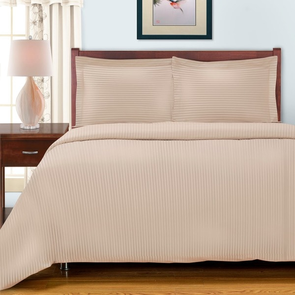 Luxor Treasures Egyptian Cotton 300 Thread Count Striped 3-piece Duvet Set