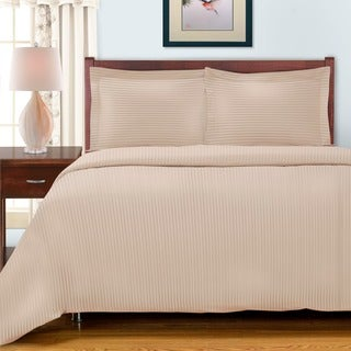 Simple Elegance Egyptian Cotton 300 Thread Count Striped 3-piece Duvet Set