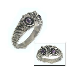Sterling Silver 'Owl Wisdom' Amethyst Ring (Indonesia)