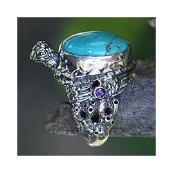 Sterling Silver 'Blue Turtle' Turquoise Ring (Indonesia)