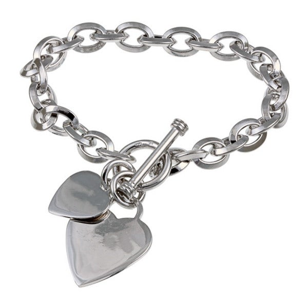 Miadora Sterling Silver Double Heart Charm Bracelet