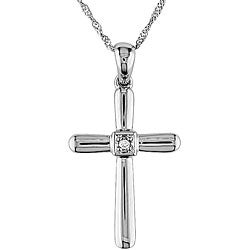 Miadora 14k White Gold Diamond Cross Pendant