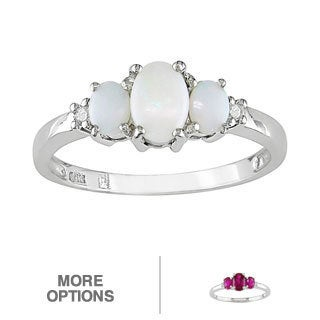Miadora 10k White Gold Opal or Created Ruby and Diamond 3-stone Ring