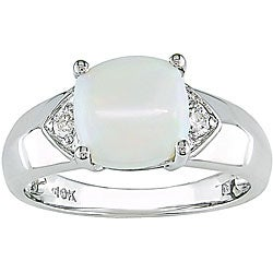 Miadora 10k White Gold Diamond and Square Opal Ring