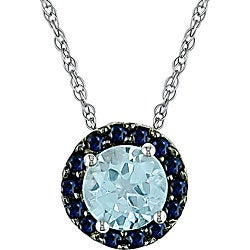 Miadora 10k White Gold Sapphire and Blue Topaz Pendant