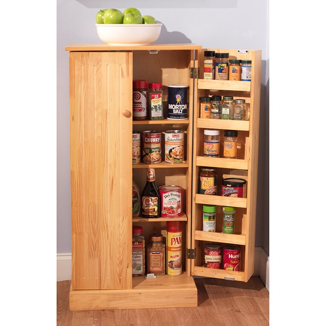 Kitchen Cabinet Pantry Pine Standing Storage Home Cupboard