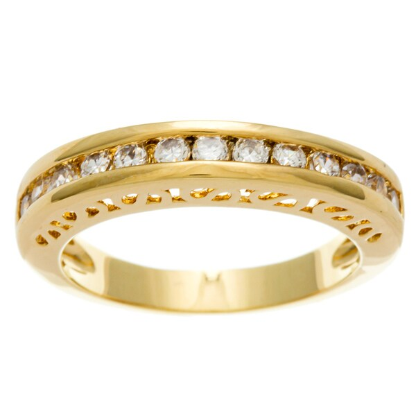 Simon Frank 14k Yellow Gold Overlay Cubic Zirconia Gallery Band