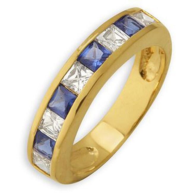 Simon Frank 14k Gold Overlay Blue and White Diamoness Ring