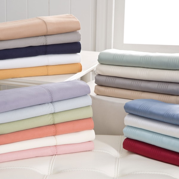 Hemstitch 400 Thread Count Sateen Solid and Striped Cotton Sheet Set (As Is Item)