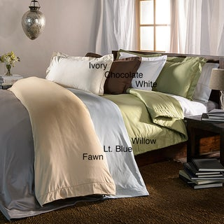 Hemstitch 400 Thread Count Solid Cotton 3-piece Duvet Cover Set