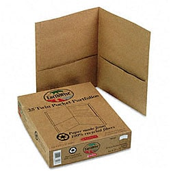Natural Twin Pocket Portfolios - Recycled (25 per Box)