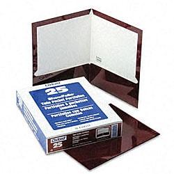 Laminated 100-Sheet Maroon Two-Pocket Portfolios (25 per Box)