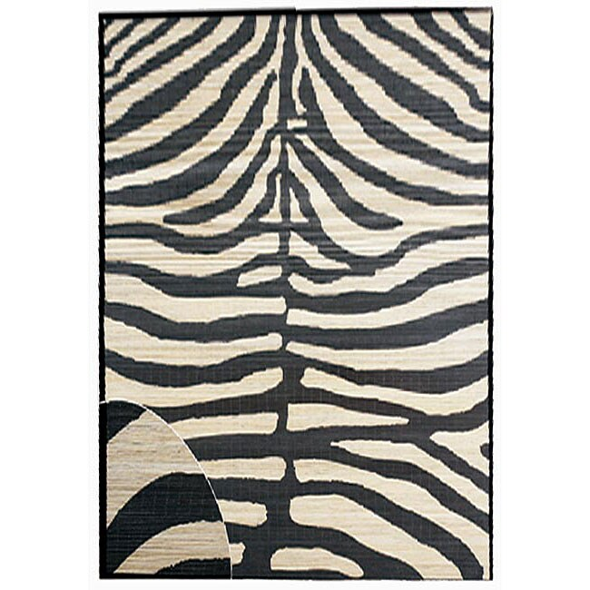 Hand-woven Zebra Rayon from Bamboo Rug (6' x 9')