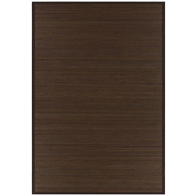 Hand-woven Brown Bamboo Rug (5' x 8')