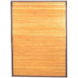 Hand-woven Light Yellow Bamboo Rug (5' x 8')