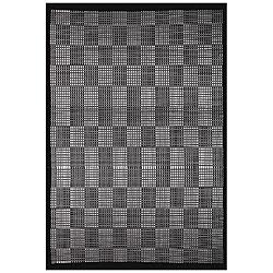 Hand-woven Black/ Cream Bamboo Rug (6' x 9')