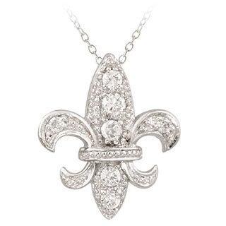 Icz Stonez Sterling Silver CZ Fleur De Lis Necklace