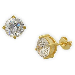 Simon Frank 1.64 Equivalent Diamond Weight 14K YG Overlay White Diamoness Stud Earrings