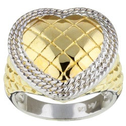 Sterling Essentials 14K Gold over Silver Two-tone Heart Ring