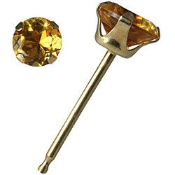 10k Yellow Gold 4 mm Round Citrine Stud Earrings