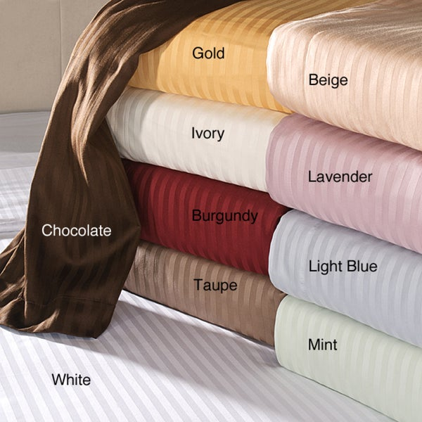 Luxor Treasures Egyptian Cotton 650 Thread Count Deep Pocket Striped Sheet Set (As Is Item)