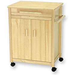 Solid Wood Kitchen Cart with Double-door Cabinet