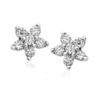 Annello 14k Gold 1/5ct TDW Diamond Star Earrings