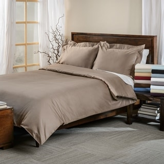Simple Elegance Egyptian Cotton 650 Thread Count Solid Sateen Finish 3-piece Duvet Cover Set