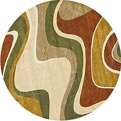 Hand-tufted Ackworth Beige/ Rust Rug (7'10 Round)