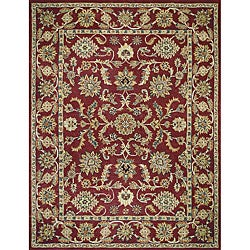 Hand-tufted Mason Red/ Light Blue Wool Rug (3'6 x 5'6)