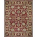 Hand-tufted Mason Red/ Light Blue Wool Rug (3'6 x 5'6)