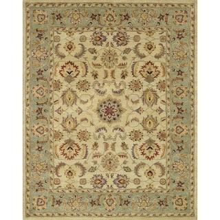 Hand-tufted Mason Beige/ Green Wool Rug (5' x 7'6)