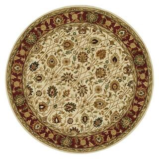 Hand-tufted Mason Ivory/ Red Wool Rug (8' Round)