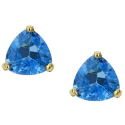 Kabella 14k Yellow Gold Blue Topaz Trillion Stud Earrings