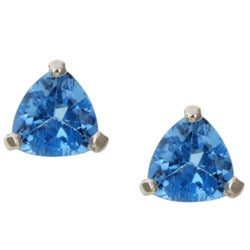 Kabella 14k White Gold Blue Topaz Trillion Stud Earrings