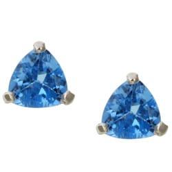 Kabella 14k White Gold Blue Topaz Trillion Stud Earrings