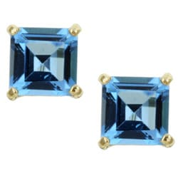 Kabella 14k Yellow Gold Square Blue Topaz Stud Earrings