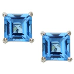 Kabella 14k White Gold Square Blue Topaz Stud Earrings