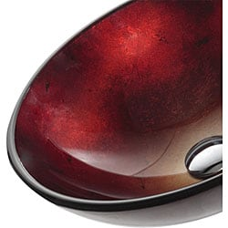 Kraus Irruption Galaxy Red Glass Vessel Sink with PU-MR Chrome