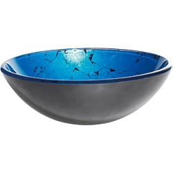 Kraus Irruption Galaxy Blue Glass Vessel Sink with PU-MR Chrome