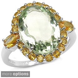 Malaika Sterling Silver Gemstone and Citrine Ring
