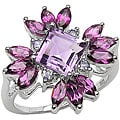 Malaika Sterling Silver Amethyst and Rhodolite Ring