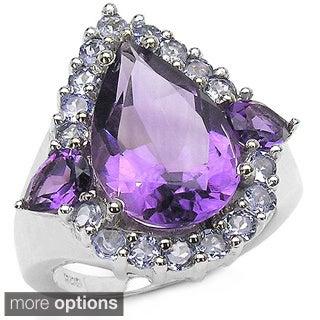 Malaika Sterling Silver Gemstone and Tanzanite Ring